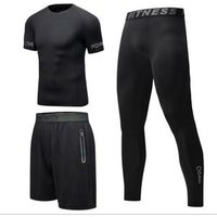Customized Fitness mens suit 3pcs quick-drying short-sleeved tights running sports suit basketball training clothes gym