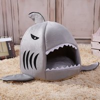 'Cage Cave Felt Little Indoor Collapsible Double Luxury Canopy Covered Soft Elevated House Shark Nest Pet Bed For Cat Dog