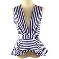 Womens Blouse Tops Summer Office Wear Blouse Ladies V neck Sleeveless Blue Stripes Blusas Shirts Fall Fashion Ruffle Peplum