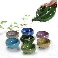 7Pcs/Set 150ML Porcelain Tea Set Ceramic Chinese Kung Fu Teapot Handmade Ice Crack Glaze Teapot Set 7 Colors