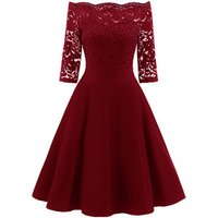 Elegant Women Lace Embroidery Evening Party Sexy Off Shoulder Big Swing Dresses Bridesmaid Dress Gown A222