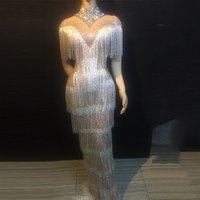Rhinestones Fringes Dress Women Evening Birthday Celebrate Tassel Dress Nightclub Stage Women Singer Dancer Long Dress DL3442