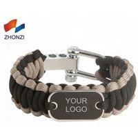 'Zinc Alloy Shackle  Custom Logo 550 Paracord Bracelet With Metal  Emergency Survival Bracelet  Kit For Outdoor Hunting