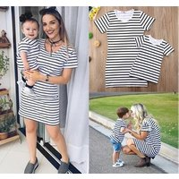 2019 summer Mother and Daughter Casual Cotton black white Striped Maxi Dress MommyandMe Matching Set Outfits