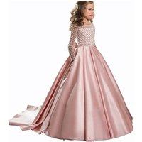 OEM ball gown girls dress kids clothing children long sleeve first communion dresses kids evening gowns party dress for girls