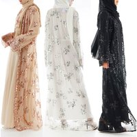 2019 abaya loose sequins embroidery lace kaftan Arab robe femme front open kimono cardigan islamic clothing abaya muslim dress