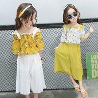Childrens suit 2019 summer Korean girls clothing set short-sleeved strapless coat wide leg pants girl suit