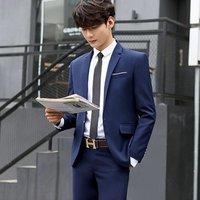 Imported Mens 3-Piece Sets Slim Fit Blazer Jacket Trousers and Tux Vest Royal Blue Suits For Men