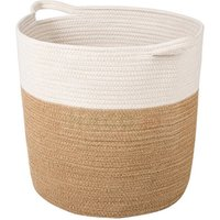 High Quality Brown Cream Stripe Storage Decorative Laundry Basket