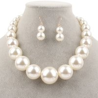 1950S-70S Party Jewelry Gift Set Imitation Pearl Necklace and Earring Set