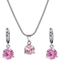 AJS1933101 High Quality Fashion Elegant Bride Pink Cubic Zircon Wedding Necklace Jewelry Set For  Wedding Jewelry