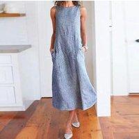 2019 Hot Sale!! Fashion Simple Sweet Women Casual Striped Sleeveless Dress Crew Neck Linen Pocket Long Dress