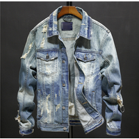 X86041B Wholesale fashion blank man denim jacket for men ripped jean jackets