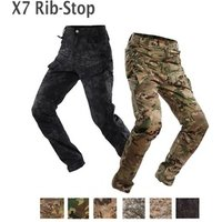 Mens Waterproof Rib Stop Military Tactical Pants  Army Fans Combat Hiking Hunting Multi Pockets Cargo Worker Pant Trousers