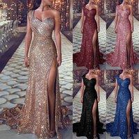 Lifu Sequin Plus Size Party Dress One Shoulder Evening Dress Long Party Wear Gowns for Women