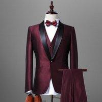 Custom italian 100% wool fabrics half canvas wedding suits for men purple royal blue coat pant photos groom suit slim fit