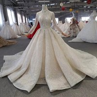 HTL272 Jancember long sleeve bridal luxury wedding dress simple satin sexy fashion ball gown cinderella wedding dress