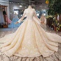 Jancember LSS423 vestidos de novia long sleeve high neck french lace dress guangzhou wedding dress