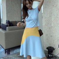 Women Two Pieces Short Sleeves Shirt Work Casual Dress and Suit