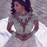 Luxury Rhinestone Heavy Beaded Wedding Dresses Backless Bridal Gowns