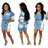 Wholesale women fashion patchwork jeans denim skirt and top two piece set OB6101