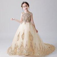 LSW237 Flower girl piano costume small host childrens catwalk fluffy evening dress