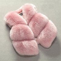 High Quality Custom Kids Clothes Girls Children Coats Light Pink Gilet Faux Fox Fur Coat