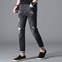 Summer mens wholesale jeans Denim Hole style bike Ripped jeans men Thin section pants Youth Slim trousers Elasticity