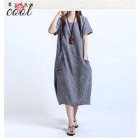 Womens large size fat MM skirts loose long slim dress short sleeve women linen dress casual