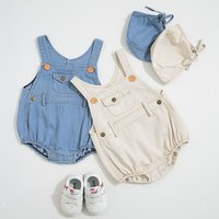 2019 summer infant boys girls baby light color denim romper with hat two-piece suit