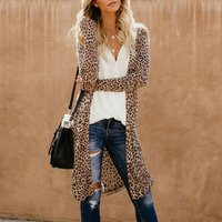 Long Camouflage Leopard Print Cardigan Loose V Neck Women Autumn Sweatershirt Coat Casual Female Outerwear Y10632