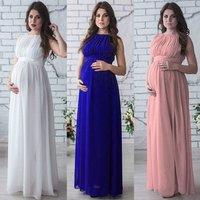 P263 Wholesale 2019 summer new style pink chiffon elegant sleeveless maternity wear long dress