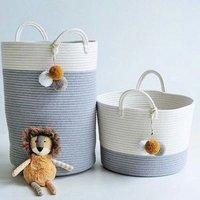 Hot selling cotton rope storage basket baby toys clothing woven folding laundry basket