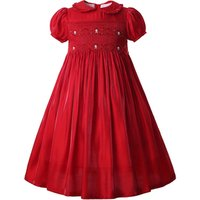 Pettigirl Red Smocked Childrens Clothing Flower Short Sleeve  Smock Dress Pattern