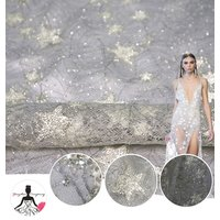 New Arrival Spanish Lace Dubai Glitter and Lace Fabric, Star Glitter Tulle Mesh Turkey Lace for Women Evening Dress