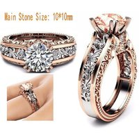 CAOSHI Luxury Rose Gold Birthstone Color CZ Ring Engagement Ring Diamond Solitaire Ring