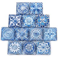 Blue and white pattern glass square For Jewelry Accessories cabochon