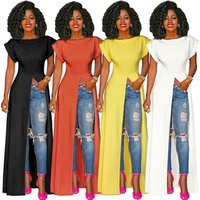 A050706 women hot solid color fashion dress short sleeve plain summer long maxi t shirt dress with high slit