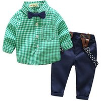 2019 Hot sale gentleman style children clothes baby boy cotton long sleeve plaid shirts suspender trousers