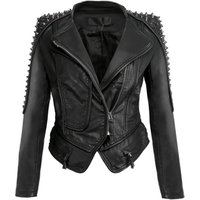 'Fashion Rivet Punk Rock Motorcycle Zipper Jacket Coats Womens Leather Ladies Leather Jacket Motorbike