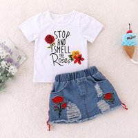 Kids Girl Summer Clothing White Letter Rose Floral T-shirt and Rose Distressed  Denim Mimi Skirt Outfit Set for 2-6 Years Old