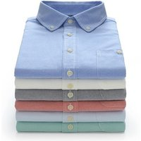 Low moq New  brand men solid  spring casual oxford dress shirt with wholesale price