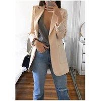 Ecowalson Women Plus Size S-5XL Suit Coat Solid Color Long Sleeve Women Long Jacket Autumn Winter Women Office Blazer Cardigan