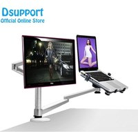 Desktop Dual Arm 25inch LCD Monitor Holder+ Laptop Holder Stand Table Full Motion Dual Monitor Mount Arm Stand