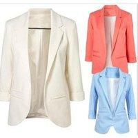 2019 Spring Slim Fit Blazer Women Formal Jackets Office Work Open Front Notched Blazer Black Ladies Blazer coat