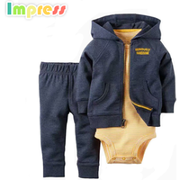 New design baby boy clothes 3 piece cotton baby hooded cardigan bodysuit set