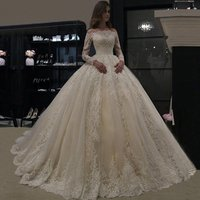 MNB001 Cheap Price High Level Ball Gown Wedding Dress Lace Vintage Elegant Long Sleeves Lace Bridal Wedding Gowns 2019 Hot Sale