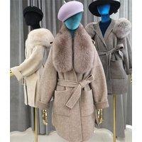 Newest elegant large fox fur collar mid long women open front winter coats alpaca overcoat belted winter lady wool jacket