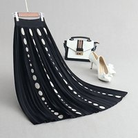 Vintage design dotted knit jacquard knitted long pleated skirt a line skirt for ladies