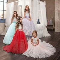 Childrens lace wedding gown Puff Princess evening party dress Flower Girl Dress Piano performance dress for girls